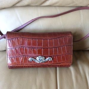 Brighton Brown Croc Embossed Wallet Crossbody